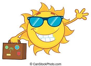 été, sourire, lunettes soleil, soleil