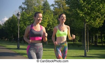 été, sportif, parc, courant, fitness, actif, femmes