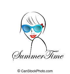 été, style, dame, temps