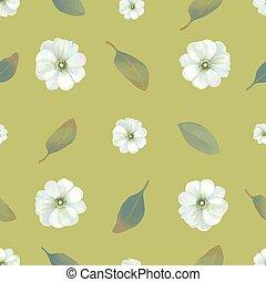 été, style, tissu, fleur, vendange, concept., seamless, arrière-plan., blanc, emballage, illustration, aquarelle, floral, fleurs, print., papier peint, papier, feuilles, contre, vecteur, vert, modèle