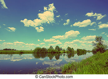 été, style, vendange, -, lac, retro, paysage