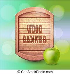 été, style, vieux, apple., bois, vert, occidental, fond, bannière, design.