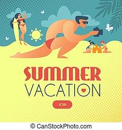 été, surfer, créer, plage, vacation., photograthing, sandcastle., enfants, girl, homme