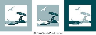été, symbole, vecteur, vacances, mer