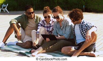 été, tablette, bois, pc, terrasse, amis