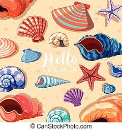 été, thème, fond, seashells