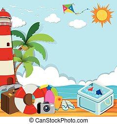 été, thème, objets, plage