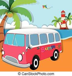 été, thème, plage, fourgon