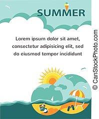 été, time., vacances, carte