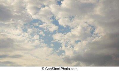 été, timelapse., nuages, côte
