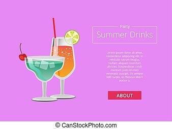 été, toile, couleur, annonce, bannière partie, boissons