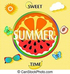 été, tranches, lunettes soleil, illustration, clouds., fruit, vecteur, fond, papillon