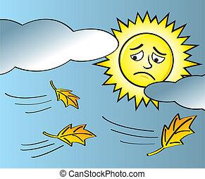 été, triste, fin, soleil