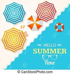 été, umbrella., plage, vecteur, temps, bannière