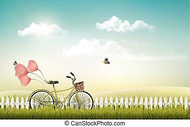 été, vélo, pré, paysage