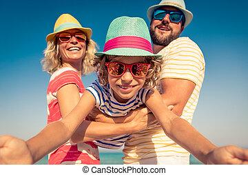 été, vacances plage, famille, mer