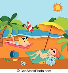 été, vacances plage, gens