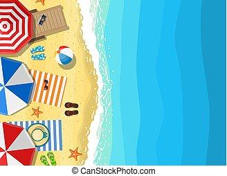 été, vacances plage, sunbed