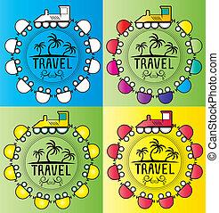 Été, vacances,  train, conception, dessin animé