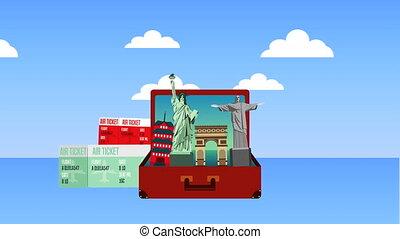 été, vacances, valise, accessoires, temps