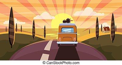 été, vacation., vacances, mer, style, fourgon, voyage, vintage., isolé, arrière-plan., vecteur, va, autobus, retro, vacances, gabarit, saison, loisir, sea., publicité, bannière, dessin animé, illustration, coucher soleil, campeur, route