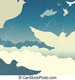 été, vecteur, ciel, colombes, clouds.