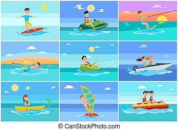 été, vecteur, collection, illustration, surfer