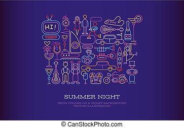 été, vecteur, illustration, nuit