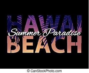 été, vecteur, résumé, illustration, arrière-plan., hawai, paume, paradis, plage