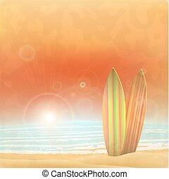 été, vecteur, sur, illustration, fond, conception, scape, plage