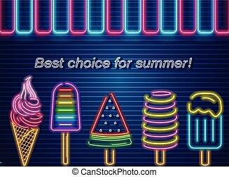 été, vector., dessert, néon, glace, étiquette, conception, délicieux, affiches, bannière, crème