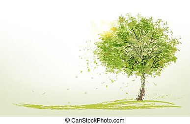 été, vert, vector., fond, arbres.