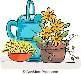 été, vie, fleurs, arrosoire, encore