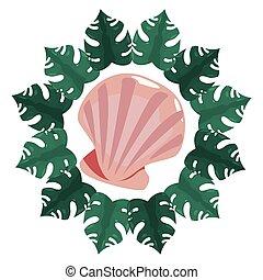 été, vie sauvage, seashell, cadre, exotique, feuilles