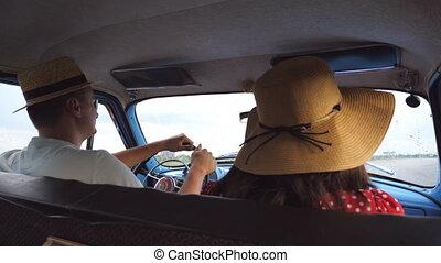 été, vieux, jeune, chapeaux, siège arrière, voyage, lent, ...