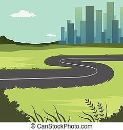 été, ville, bâtiments, campagne, nature, illustration, vecteur, vert, route, fond, par, ville, paysage