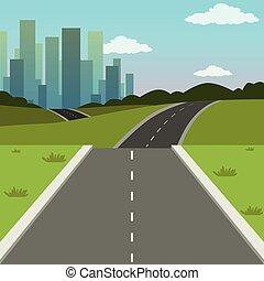 été, ville, bâtiments, nature, illustration, vecteur, vert, route, fond, ville, paysage