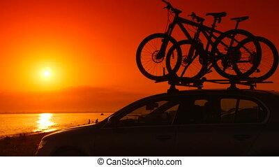 été, voiture, bicycles, coucher soleil, monté, plage