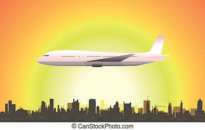 été, voler, avion