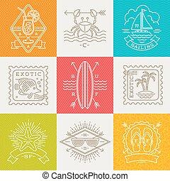 été, voyage, étiquettes, -, vacances, illustration, fetes, vecteur, signes, ligne, emblèmes, dessin