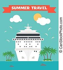 été, voyage, bateau, plat
