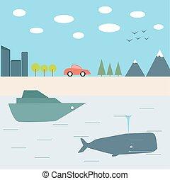 été, voyage, bateau, voiture
