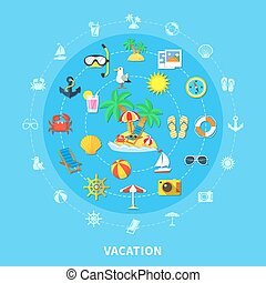 été, voyage, composition, icônes