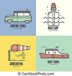 été, voyage, recours, mer, icônes