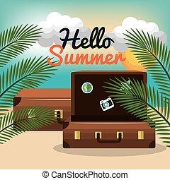 été, voyage, vacances, conception, valise, plage