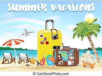 été, voyage, vacances, sac, mer sable, plage