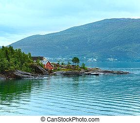 été, vue, fjord, nuageux, (norway)