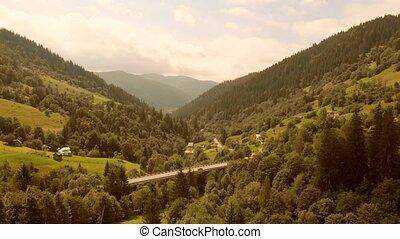 été, vue, paysage, montagnes, above.