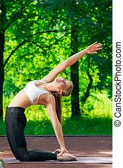 été, yoga, mince, parc, flexible, girl, jour