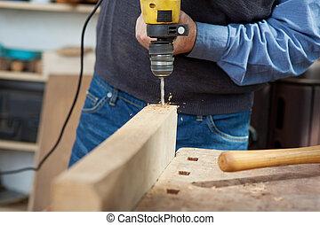 établi, électrique, charpentier, foret, utilisation, mâle